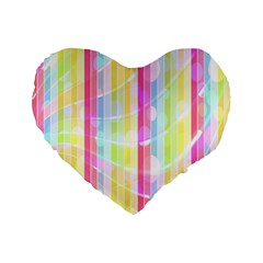 Abstract Stipes Colorful Background Circles And Waves Wallpaper Standard 16  Premium Flano Heart Shape Cushions