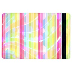 Abstract Stipes Colorful Background Circles And Waves Wallpaper Ipad Air 2 Flip by Nexatart