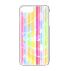 Abstract Stipes Colorful Background Circles And Waves Wallpaper Apple Iphone 7 Plus White Seamless Case by Nexatart