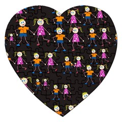 Kids Tile A Fun Cartoon Happy Kids Tiling Pattern Jigsaw Puzzle (heart) by Nexatart