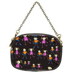 Kids Tile A Fun Cartoon Happy Kids Tiling Pattern Chain Purses (two Sides)  by Nexatart