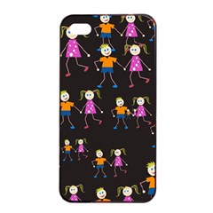 Kids Tile A Fun Cartoon Happy Kids Tiling Pattern Apple Iphone 4/4s Seamless Case (black)