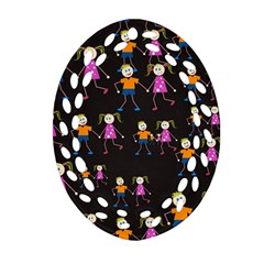 Kids Tile A Fun Cartoon Happy Kids Tiling Pattern Oval Filigree Ornament (two Sides) by Nexatart