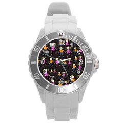 Kids Tile A Fun Cartoon Happy Kids Tiling Pattern Round Plastic Sport Watch (l) by Nexatart
