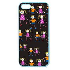 Kids Tile A Fun Cartoon Happy Kids Tiling Pattern Apple Seamless Iphone 5 Case (color) by Nexatart