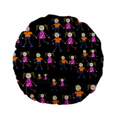 Kids Tile A Fun Cartoon Happy Kids Tiling Pattern Standard 15  Premium Flano Round Cushions