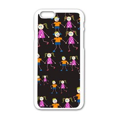Kids Tile A Fun Cartoon Happy Kids Tiling Pattern Apple Iphone 6/6s White Enamel Case by Nexatart