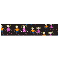 Kids Tile A Fun Cartoon Happy Kids Tiling Pattern Flano Scarf (small) by Nexatart