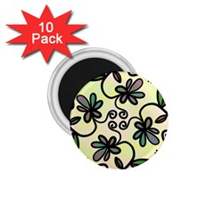 Completely Seamless Tileable Doodle Flower Art 1 75  Magnets (10 Pack)