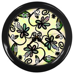 Completely Seamless Tileable Doodle Flower Art Wall Clocks (black)