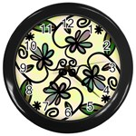 Completely Seamless Tileable Doodle Flower Art Wall Clocks (Black) Front