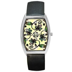 Completely Seamless Tileable Doodle Flower Art Barrel Style Metal Watch