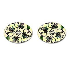 Completely Seamless Tileable Doodle Flower Art Cufflinks (oval) by Nexatart