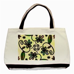 Completely Seamless Tileable Doodle Flower Art Basic Tote Bag by Nexatart