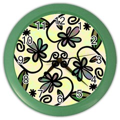 Completely Seamless Tileable Doodle Flower Art Color Wall Clocks by Nexatart