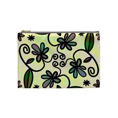 Completely Seamless Tileable Doodle Flower Art Cosmetic Bag (medium)  by Nexatart