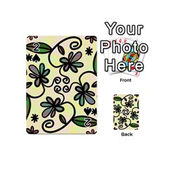 Completely Seamless Tileable Doodle Flower Art Playing Cards 54 (mini)  by Nexatart