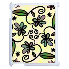 Completely Seamless Tileable Doodle Flower Art Apple Ipad 2 Case (white) by Nexatart