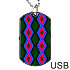 Quadrate Repetition Abstract Pattern Dog Tag Usb Flash (two Sides) by Nexatart