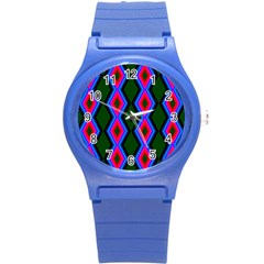 Quadrate Repetition Abstract Pattern Round Plastic Sport Watch (s) by Nexatart