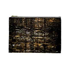 Wood Texture Dark Background Pattern Cosmetic Bag (large)