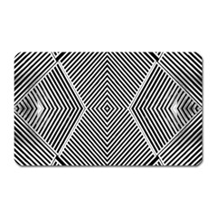 Black And White Line Abstract Magnet (rectangular)