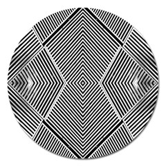 Black And White Line Abstract Magnet 5  (round)