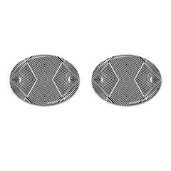 Black And White Line Abstract Cufflinks (oval)