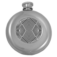 Black And White Line Abstract Round Hip Flask (5 Oz)