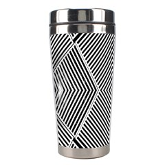 Black And White Line Abstract Stainless Steel Travel Tumblers