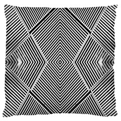 Black And White Line Abstract Large Flano Cushion Case (two Sides) by Nexatart