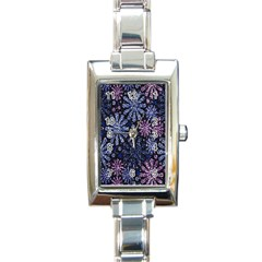 Pixel Pattern Colorful And Glittering Pixelated Rectangle Italian Charm Watch by Nexatart
