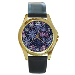 Pixel Pattern Colorful And Glittering Pixelated Round Gold Metal Watch by Nexatart