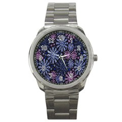 Pixel Pattern Colorful And Glittering Pixelated Sport Metal Watch by Nexatart