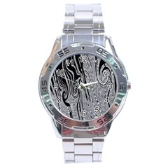 Abstract Swirling Pattern Background Wallpaper Stainless Steel Analogue Watch by Nexatart