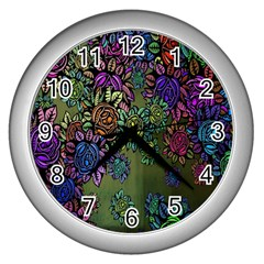 Grunge Rose Background Pattern Wall Clocks (silver)