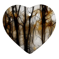 Fall Forest Artistic Background Ornament (heart) by Nexatart