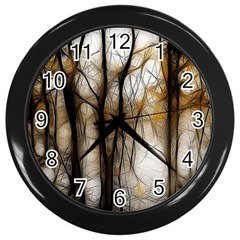 Fall Forest Artistic Background Wall Clocks (black) by Nexatart