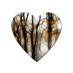 Fall Forest Artistic Background Heart Magnet by Nexatart