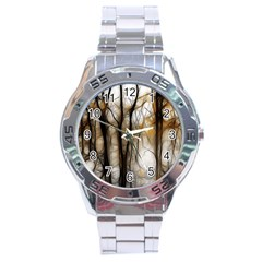 Fall Forest Artistic Background Stainless Steel Analogue Watch by Nexatart