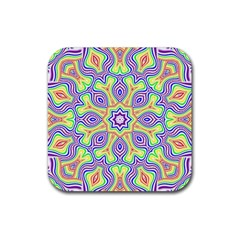Rainbow Kaleidoscope Rubber Coaster (square)  by Nexatart