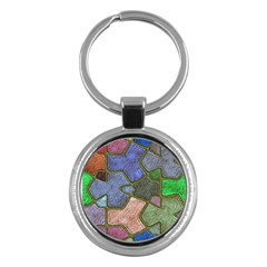 Background With Color Kindergarten Tiles Key Chains (round)  by Nexatart