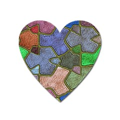 Background With Color Kindergarten Tiles Heart Magnet by Nexatart
