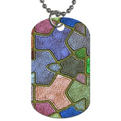 Background With Color Kindergarten Tiles Dog Tag (two Sides) by Nexatart