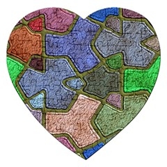 Background With Color Kindergarten Tiles Jigsaw Puzzle (heart) by Nexatart