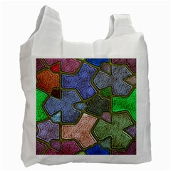 Background With Color Kindergarten Tiles Recycle Bag (one Side)