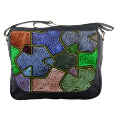 Background With Color Kindergarten Tiles Messenger Bags by Nexatart