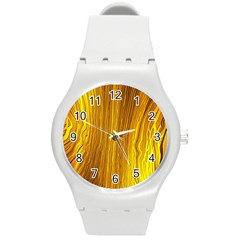 Light Doodle Pattern Background Wallpaper Round Plastic Sport Watch (m)