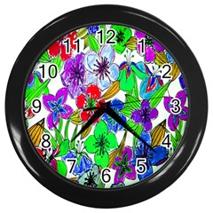 Background Of Hand Drawn Flowers With Green Hues Wall Clocks (black) by Nexatart