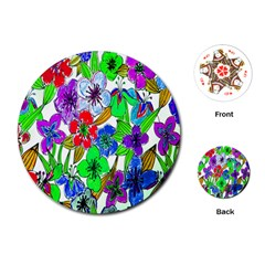 Background Of Hand Drawn Flowers With Green Hues Playing Cards (round)  by Nexatart